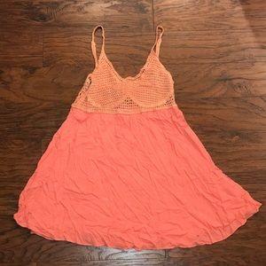 Salmon A. Peach dress with crochet top